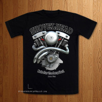 Shovelhead Custom pipes Black T-Shirt