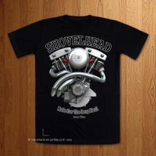 Shovelhead Custom pipes Black T-Shirt