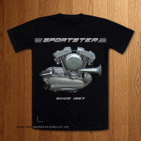 1957 Sportster Engine Black T-Shirt