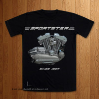 "1957 Sportster Engine ""Naked"" Black T-Shirt"