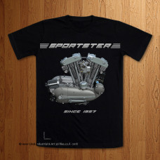 "1957 Sportster Engine ""Naked"" Black T-Shirt"