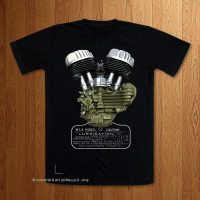 1942 WLA With Tank Placard Black T-Shirt